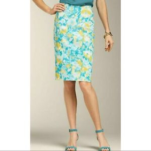 Talbots Petites Pencil Skirt BlueFloral Watercolor